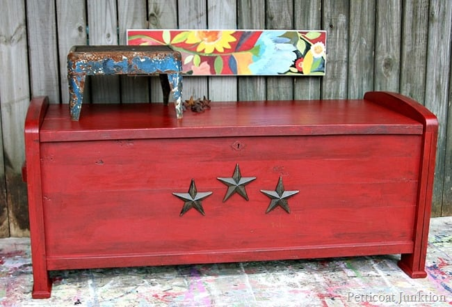 Antiqued Red Cedar Chest by Petticoat Junktion