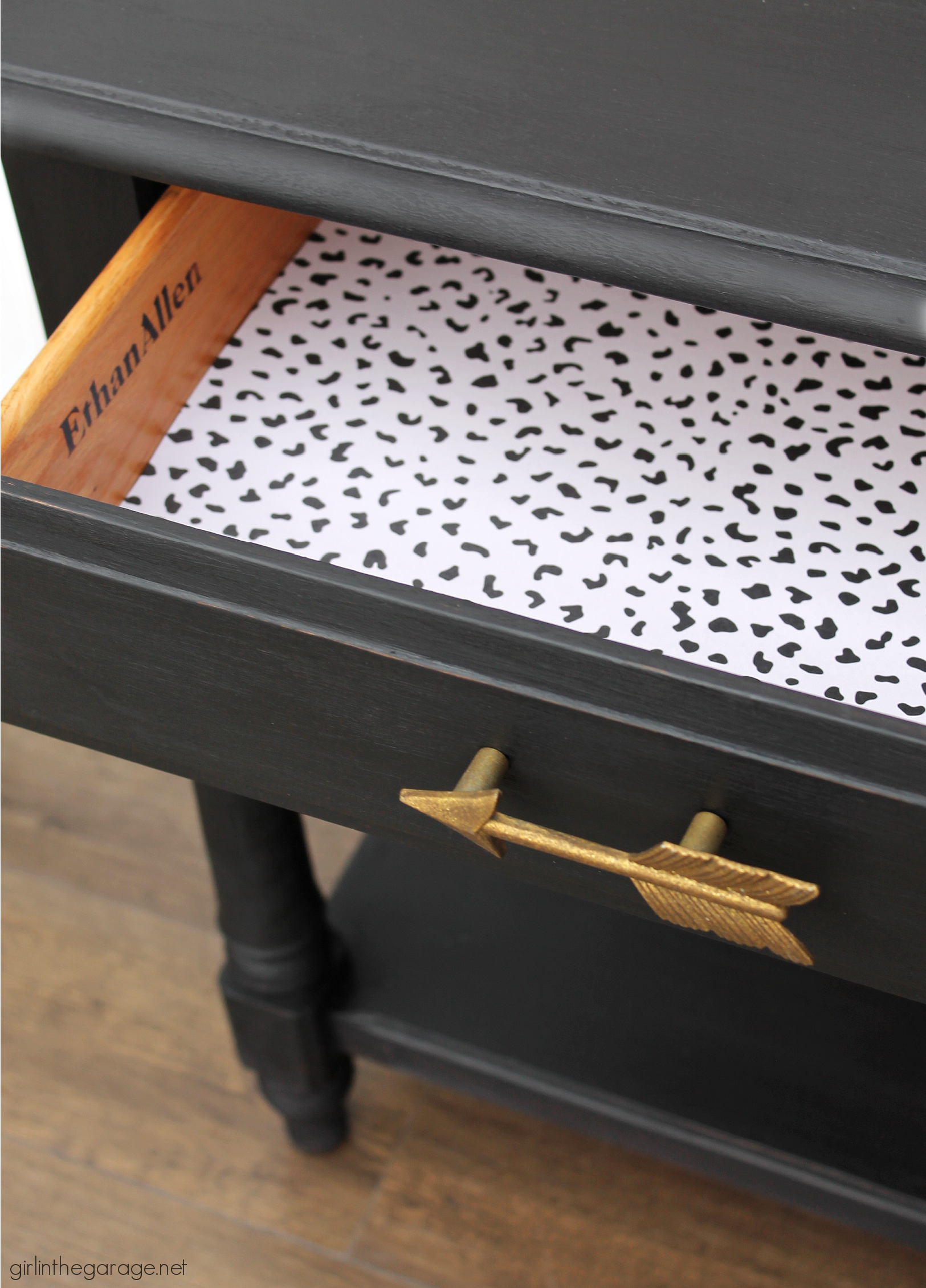 How to Paint Furniture Black with Athenian Black Chalk Paint - Painted Ethan Allen Nightstand - Painted furniture ideas by Girl in the Garage