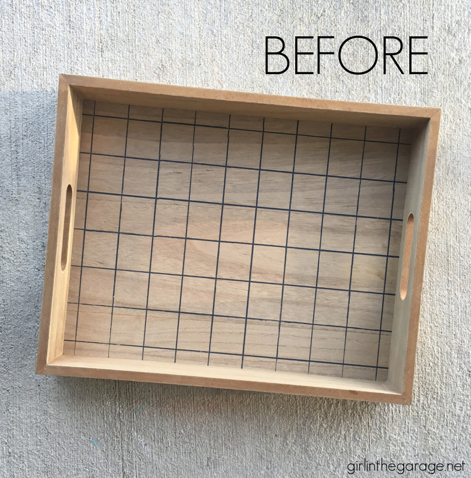 How to make an adorable upcycled wood tray with yardsticks and paint stirrers. Easy DIY home decor idea by Girl in the Garage