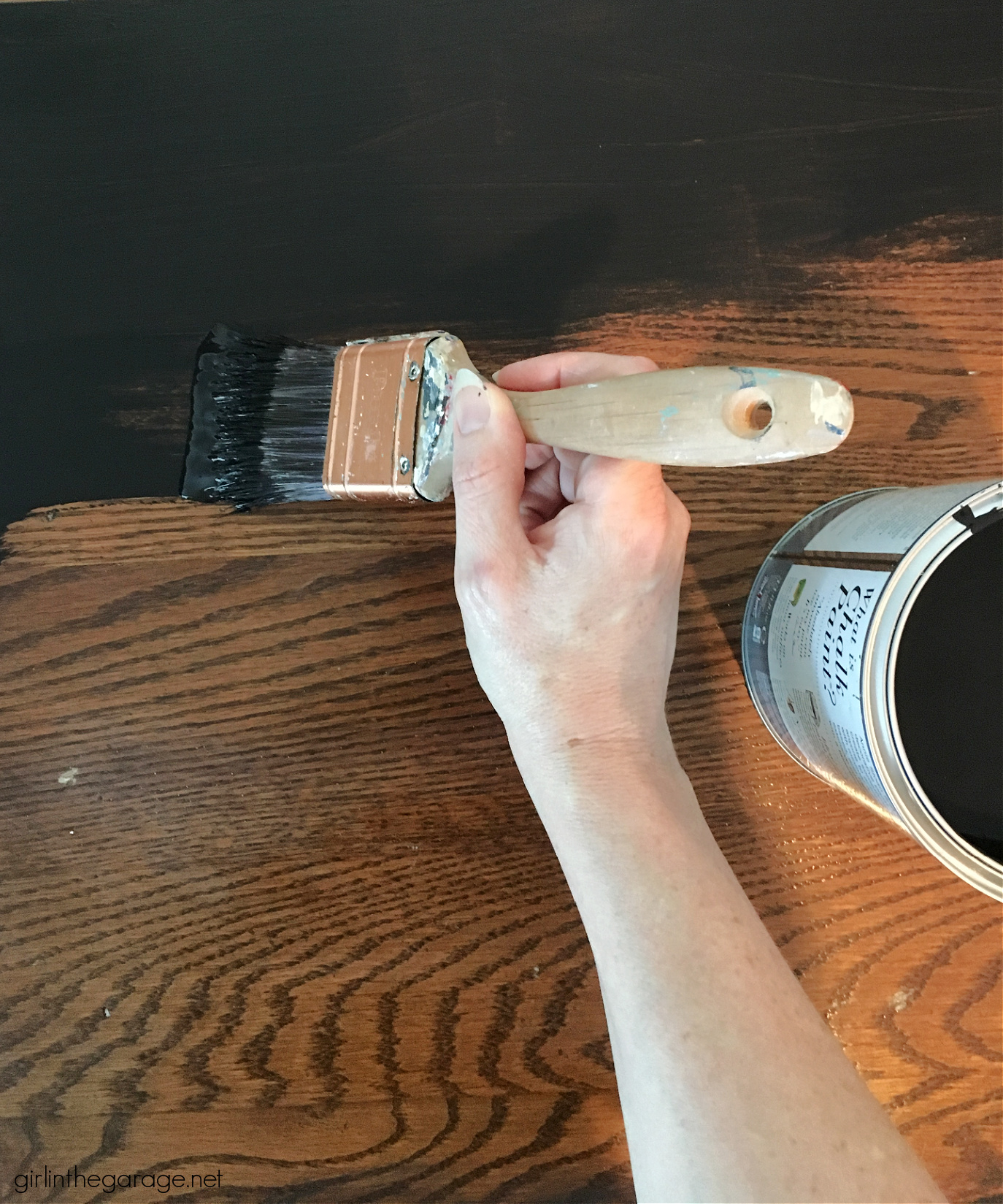 Use black Chalk Paint for stunning painted furniture! Learn how to Chalk Paint furniture with Athenian Black and black wax. Painted furniture ideas by Girl in the Garage