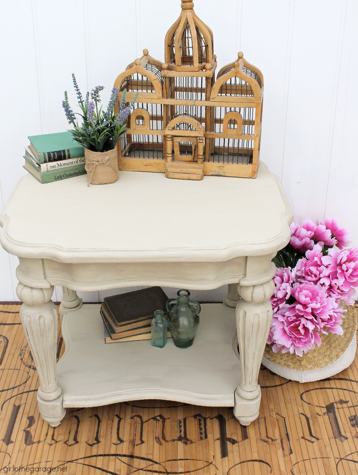Learn how to paint a driftwood finish with Chalk Paint on a wooden table. Painted furniture ideas by Girl in the Garage