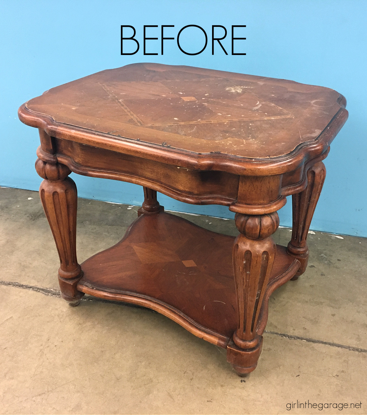 Thrifted table makeover painted in a driftwood finish with Chalk Paint - Painted furniture ideas by Girl in the Garage