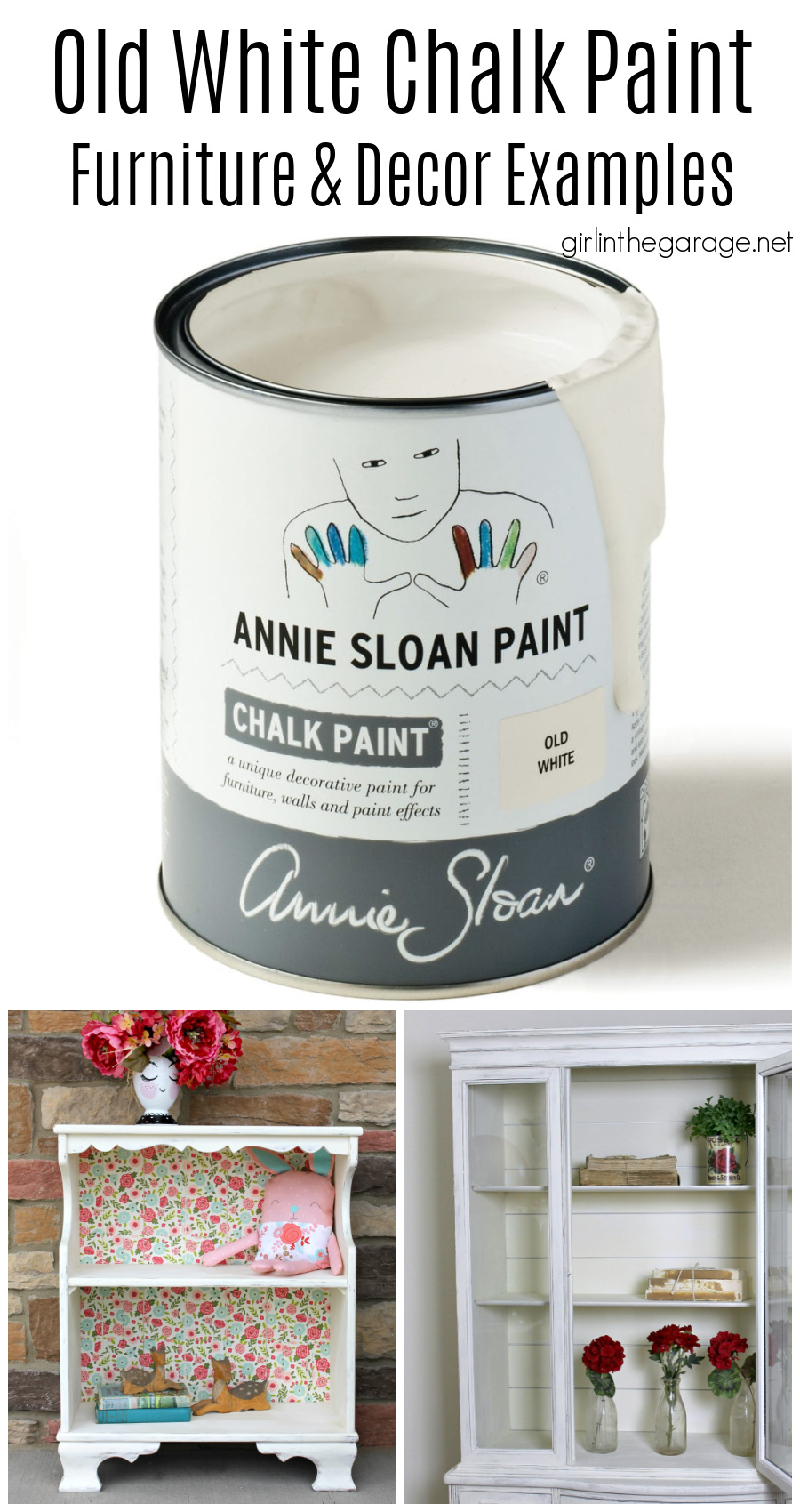Beautiful painted furniture ideas in Old White Chalk Paint by Annie Sloan. Dressers, vanities, bookcases, cabinets, and more. By Girl in the Garage