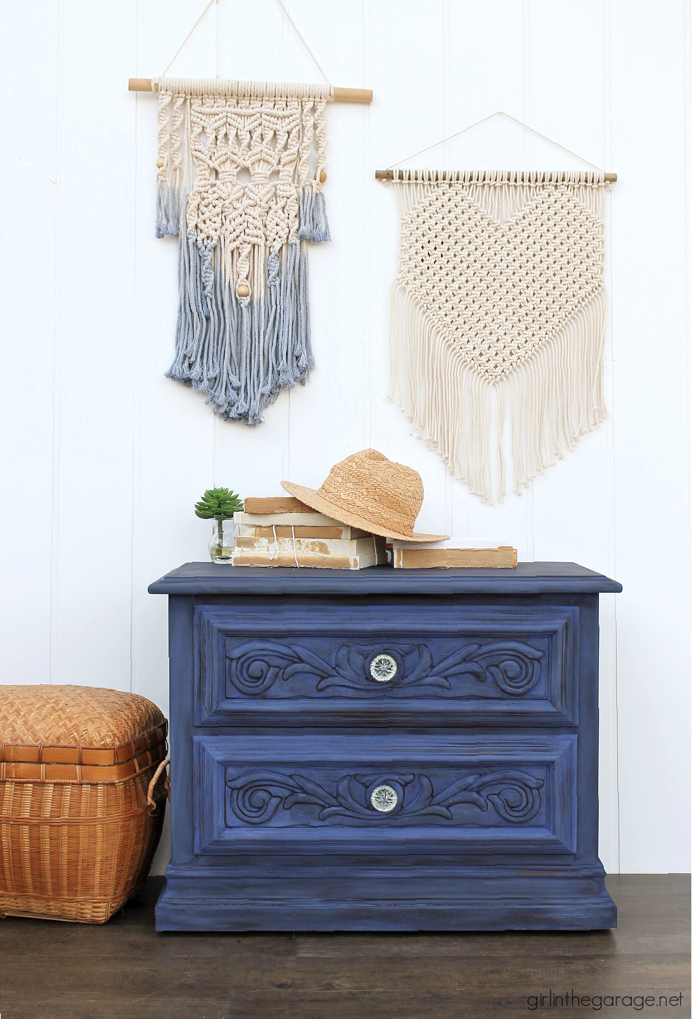 Create a statement piece with a bold blue Chalk Painted nightstand. DIY painted furniture ideas by Girl in the Garage