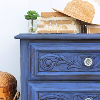Bold Blue Chalk Painted Nightstand