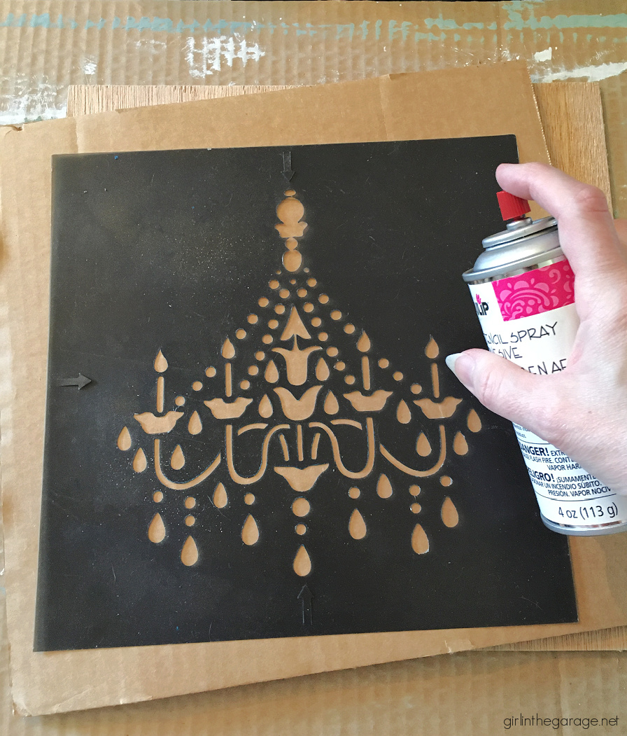 Learn how to make custom 3D chandelier wall art with a raised stencil technique and Chalk Paint. Beautiful French vintage decor by Girl in the Garage