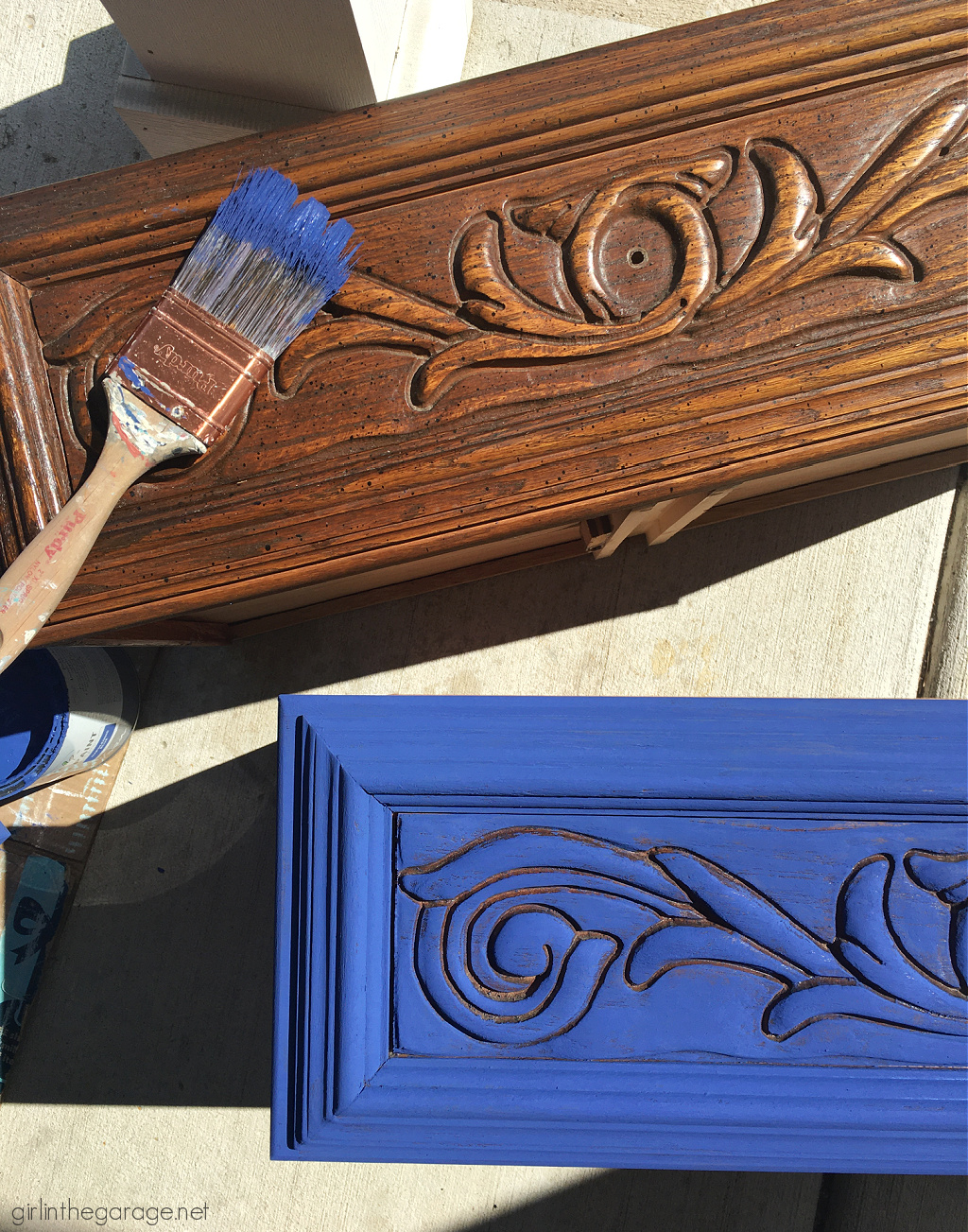 Create a statement piece with a Napoleonic Blue Chalk Painted nightstand. DIY painted furniture ideas by Girl in the Garage