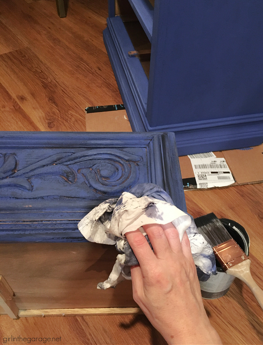 Create a statement piece with a bold blue Chalk Painted nightstand. Also how to do a black wash on furniture. DIY painted furniture ideas by Girl in the Garage