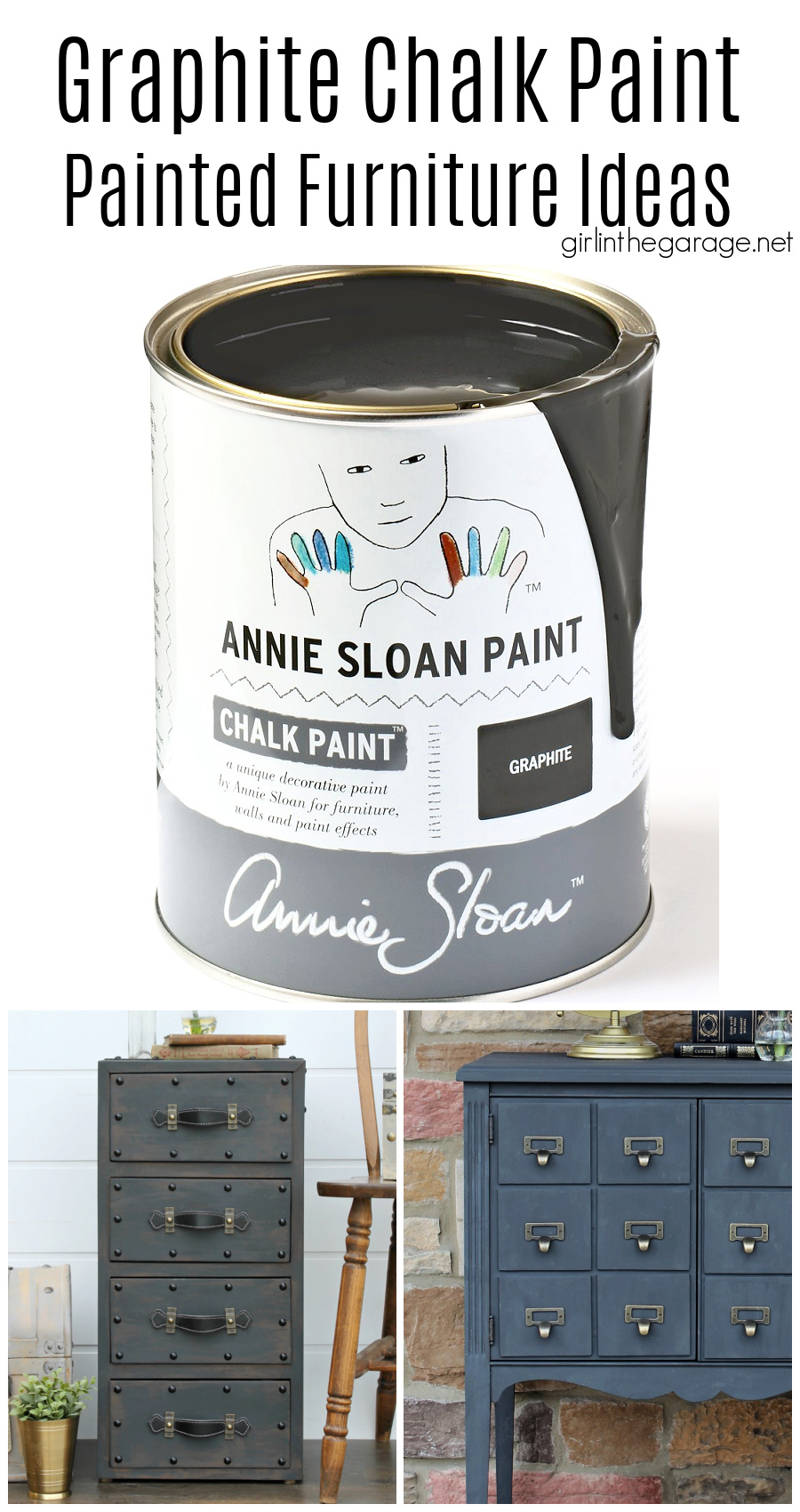 Learn all about Graphite Chalk Paint by Annie Sloan - including how to best use it and seal it. Also see stunning Graphite painted furniture ideas. By Girl in the Garage