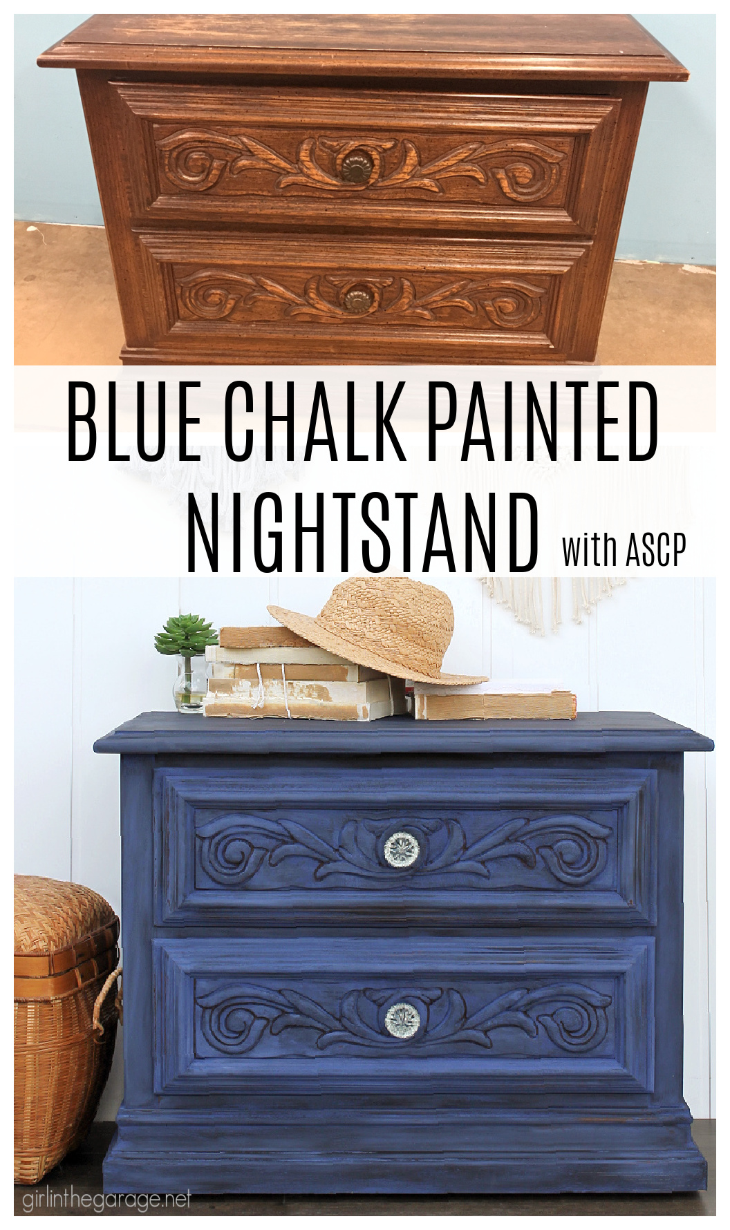 Learn how to create a statement piece with a bold blue Chalk Painted nightstand. DIY painted furniture ideas by Girl in the Garage