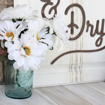 DIY Laundry Room Sign from a Cabinet Door