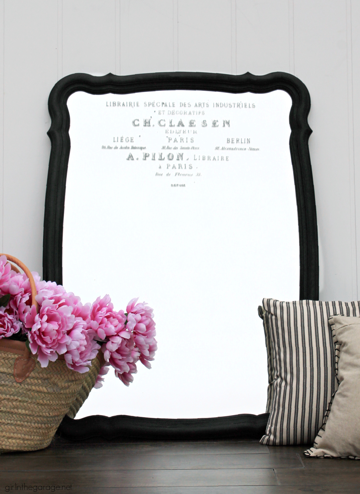 Learn how to upcycle a vintage mirror into gorgeous French style decor. Easy and thrifty DIY decor idea by Girl in the Garage.