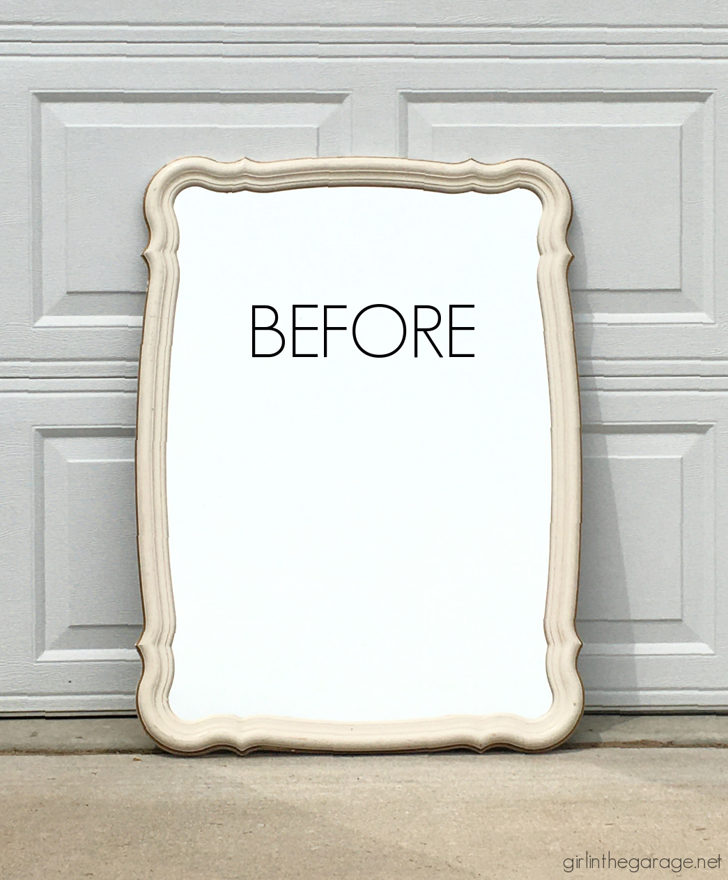 Before: Learn how to upcycle a vintage mirror into gorgeous French style decor. Easy and thrifty DIY decor idea by Girl in the Garage.