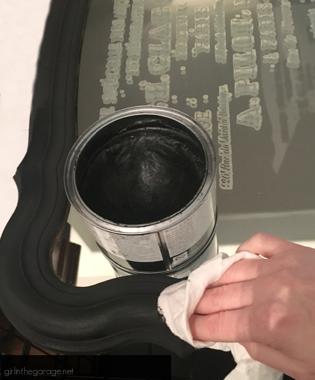 Black wax: Learn how to upcycle a vintage mirror into gorgeous French style decor. Easy and thrifty DIY decor idea by Girl in the Garage.