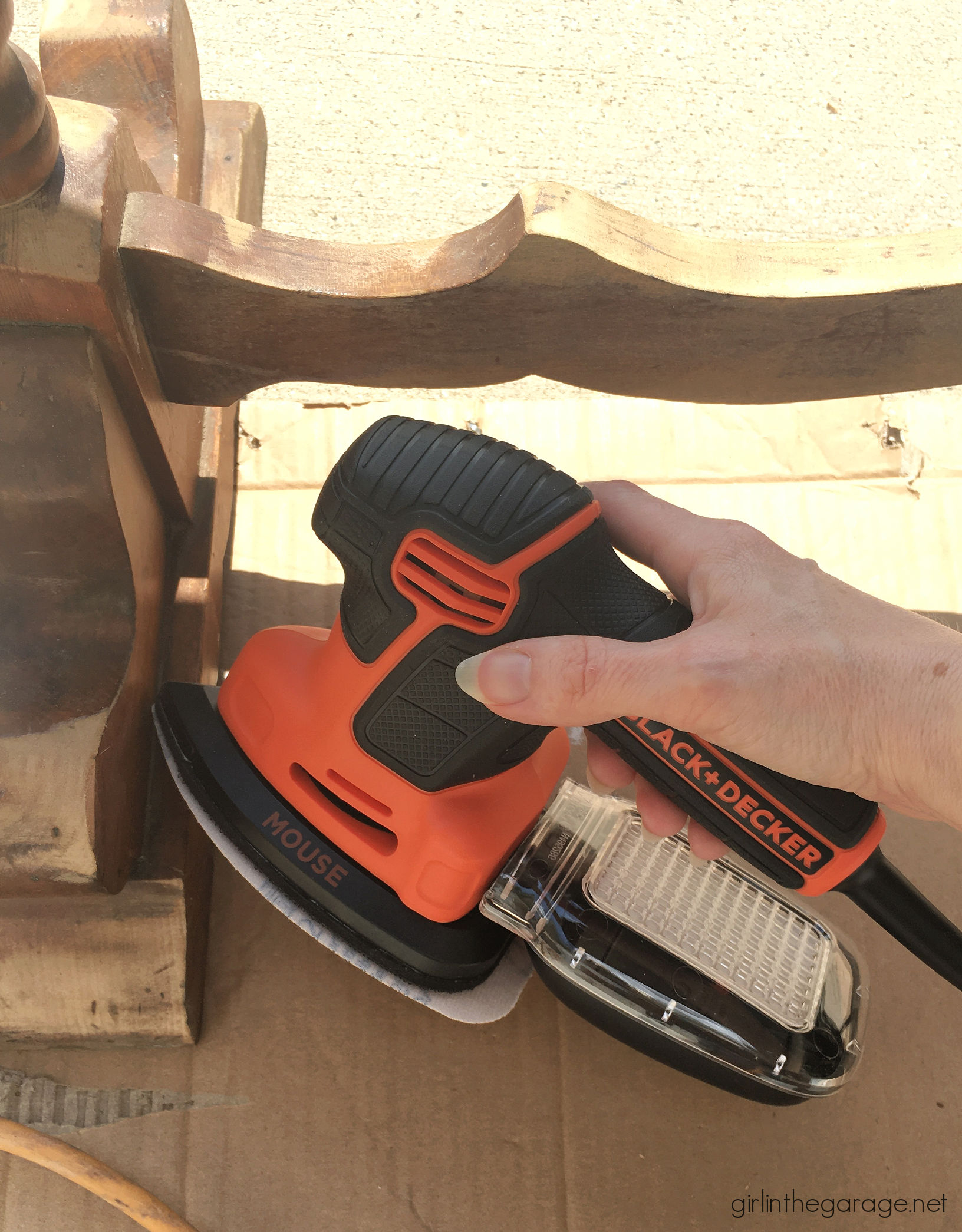 How to use a detail sander on wood furniture - Girl in the Garage