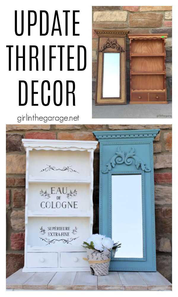 Discover creative ideas for updating thrifted decor in these tutorials for Chalk Painting a vintage mirror and stenciling a wall shelf. By Girl in the Garage