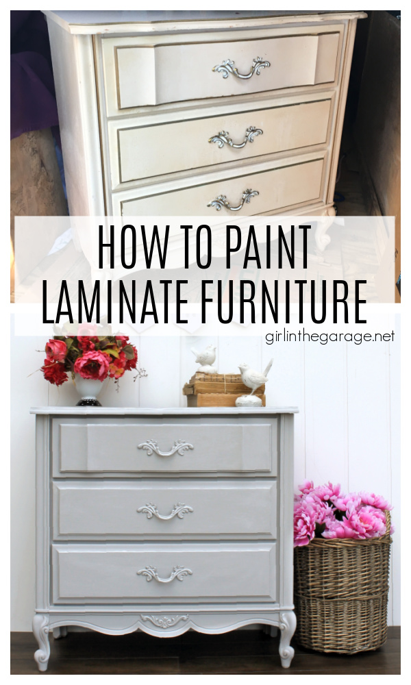 YES you can paint laminate furniture! Learn how to prep and paint laminate furniture with Chalk Paint for beautiful results. Painted furniture ideas by Girl in the Garage