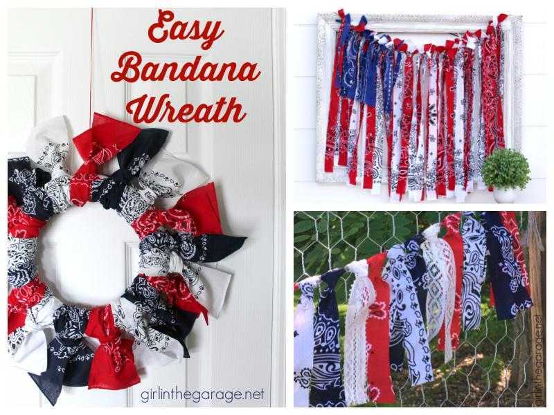 DIY Patriotic Decor Ideas Using Bandanas - by Girl in the Garage