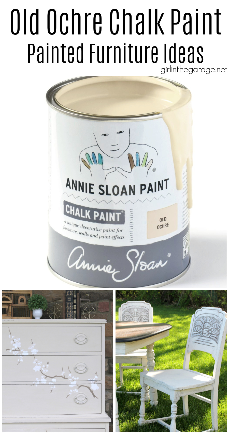 Beautiful painted furniture ideas in Old Ochre Chalk Paint by Annie Sloan. Dressers, vanities, cabinets, and more. By Girl in the Garage