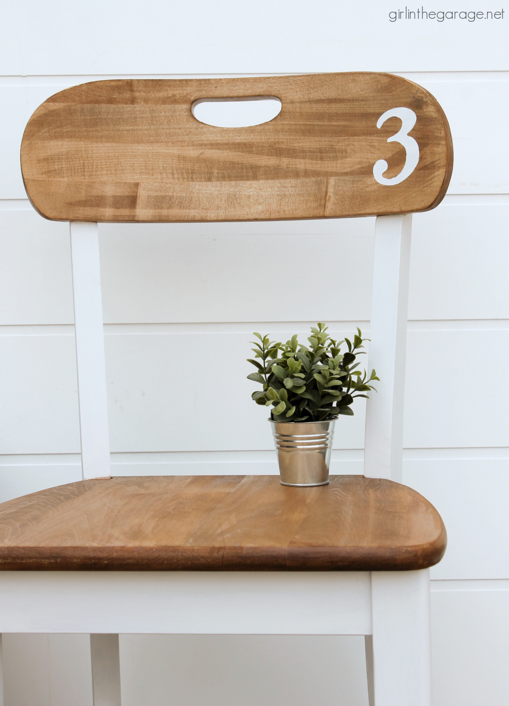 Learn how to stain and paint a wood chair for beautiful results. Step by step DIY tutorial by Girl in the Garage.