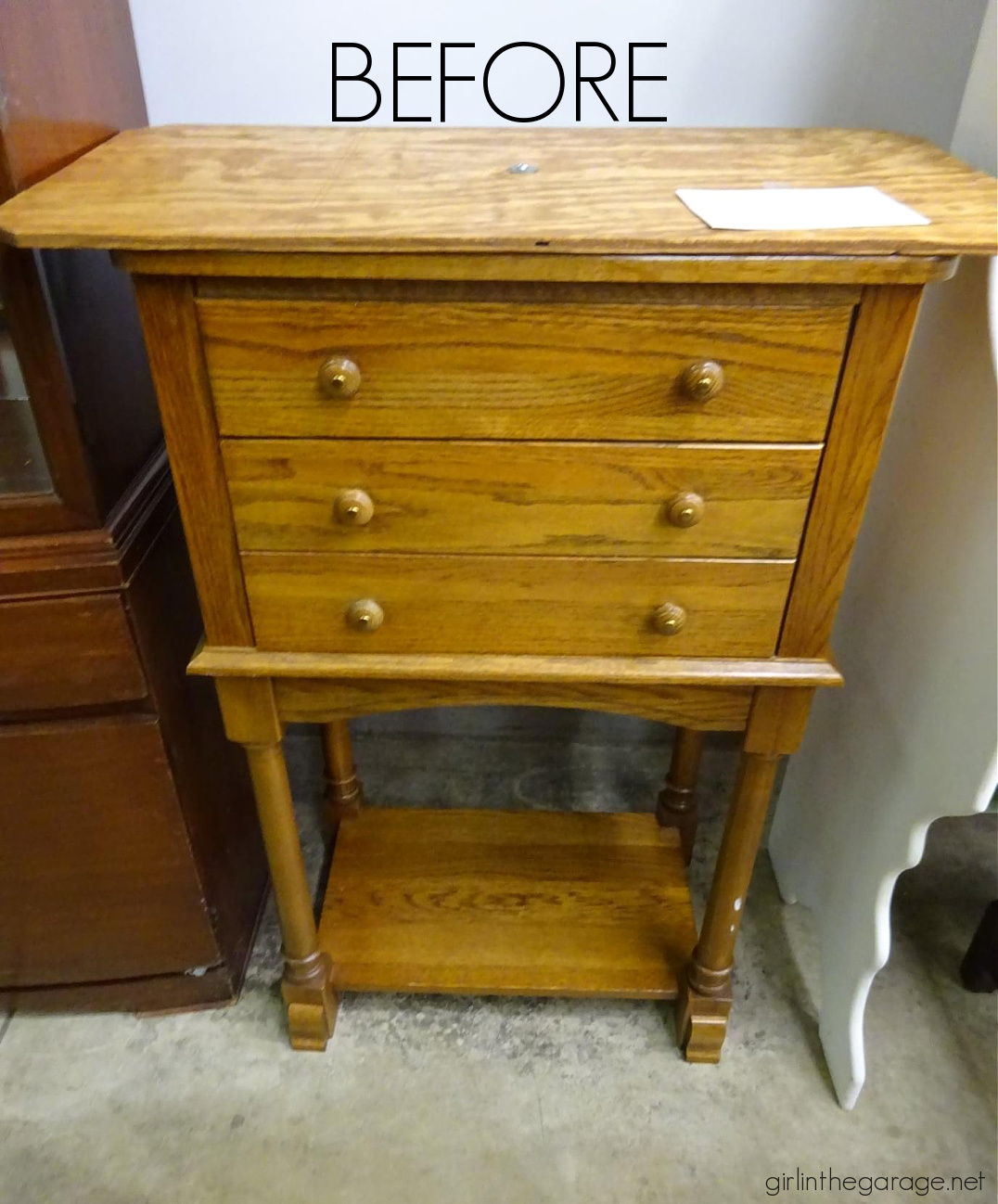 A thrifted cabinet updated in Rustoleum Chalked Paint - Honest review by Girl in the Garage