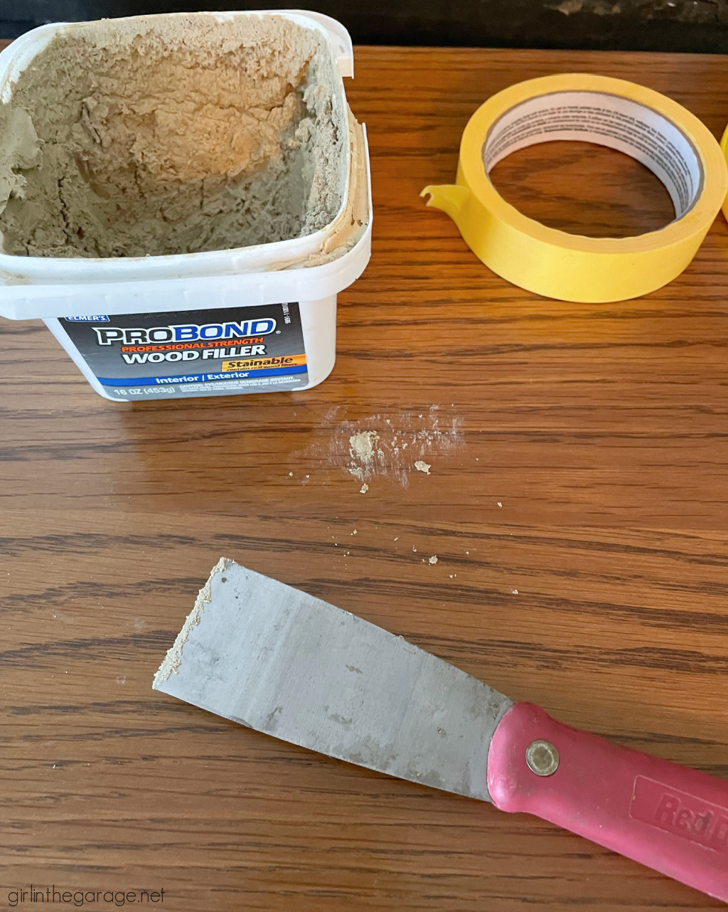 Wood filler in old cabinet holes - Girl in the Garage