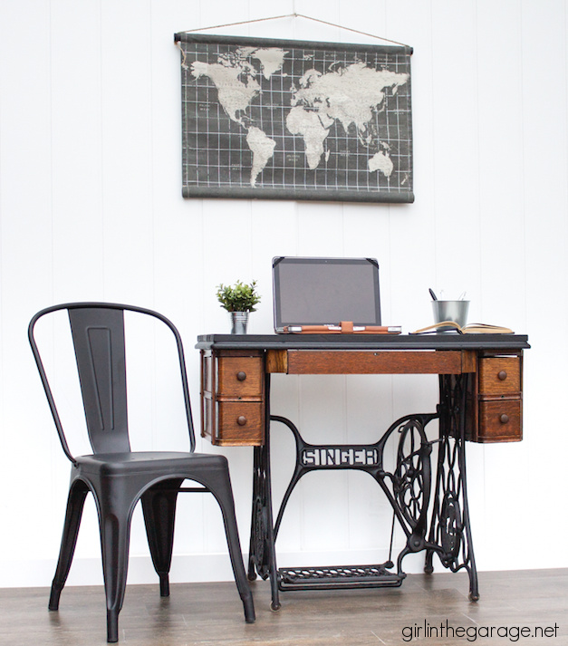 Repurposed Singer sewing machine table from the book Amazing Furniture Makeovers by Jen, Girl in the Garage