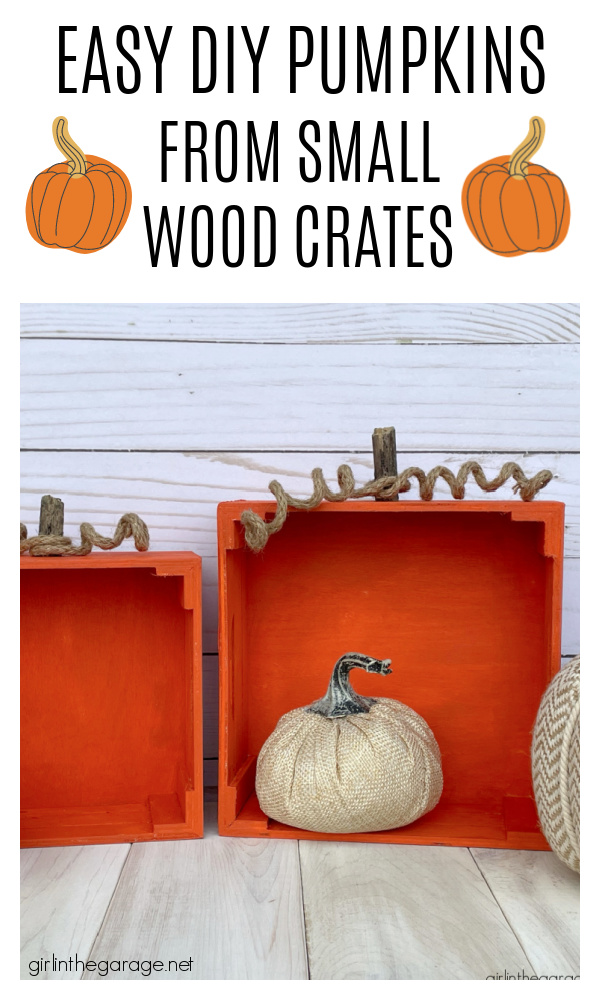 Learn how to make adorable painted crate pumpkins for easy DIY fall decor. Tutorial by Girl in the Garage